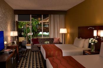 Deluxe Room, 2 Queen Beds with Sofa Bed, 1st floor view with patio
