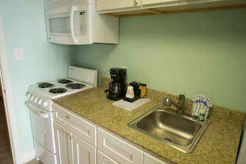 In-Room Kitchen at Sandcastle Oceanfront Resort by Patton Hospitality in Myrtle Beach