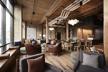 Lobby Lounge at Hewing Hotel in Minneapolis