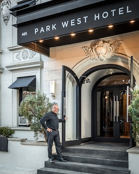 Exterior detail at Park West Hotel in New York