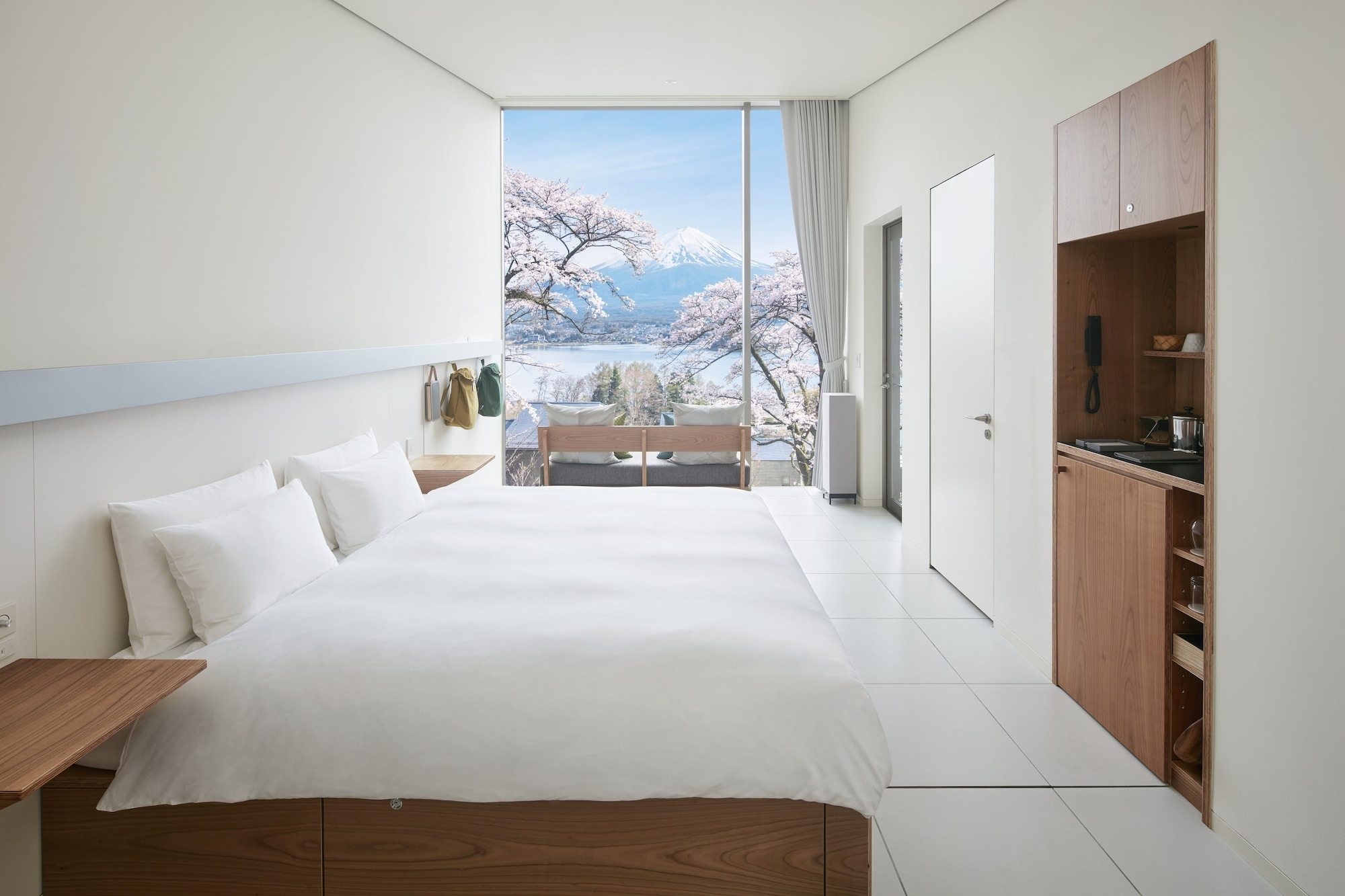 King size bed room with mountain view