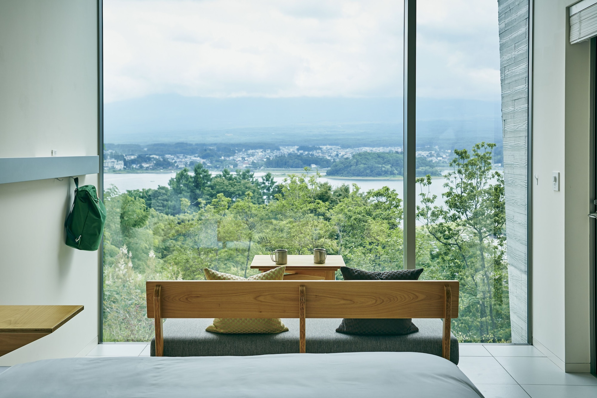 Twin bed room with mountain view