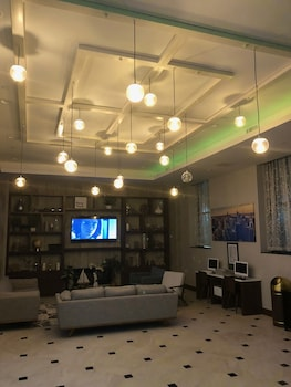 Lobby at Hotel Nirvana in Long Island City