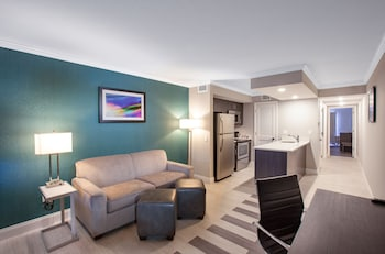 Living Room at Hawthorn Suites by Wyndham Kissimmee Gateway in Kissimmee