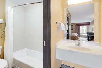 Bathroom at Super 8 by Wyndham Farmers Branch/North Dallas in Farmers Branch