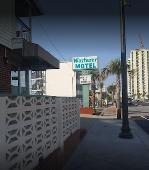 Hotel Front - Evening/Night at Wayfarer Motel in Myrtle Beach