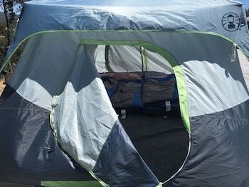 Economy Tent for 4 Mountain Side (Camping Ground) Air Mattress/Sleeping Bag Bed Types, Shared Bath